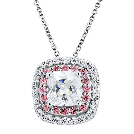Diamonart Pink And White Cubic Zirconia Sterling Silver Pendant Necklace