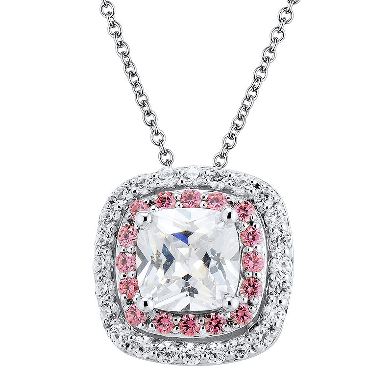 image of DiamonArt Pink and White Cubic Zirconia Sterling Silver Pendant Necklace-pp5005140159