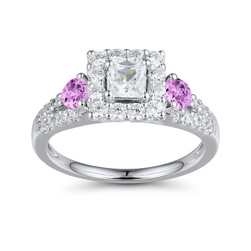 DiamonArt® Pink and White Cubic Zirconia Sterling Silver Princess-Cut Ring