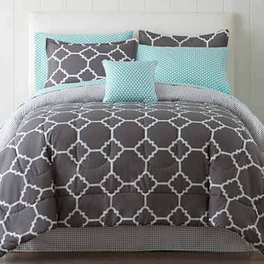 Home Expressions 6 Piece Tiles Complete Bedding Set with Sheets