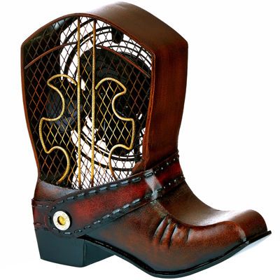 Deco Breeze Cowboy Boot Figurine Fan
