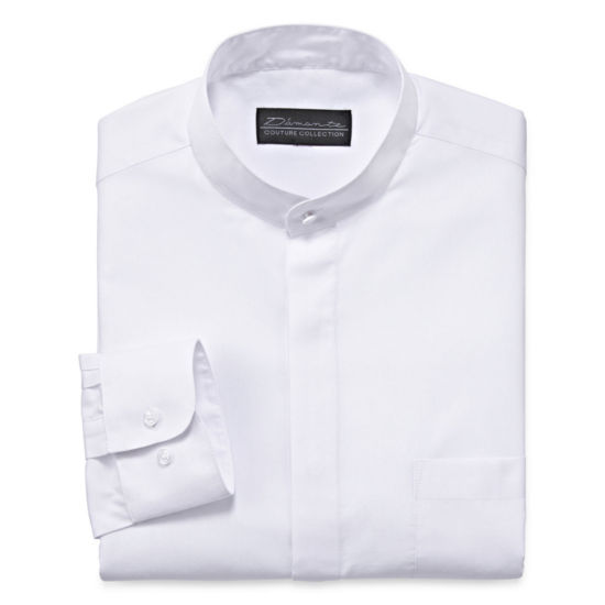 D'Amante Banded-Collar Long-Sleeve Dress Shirt