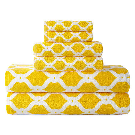 JCPenney Home Ogee Trellis Bath Towel Collection, One Size , Yellow