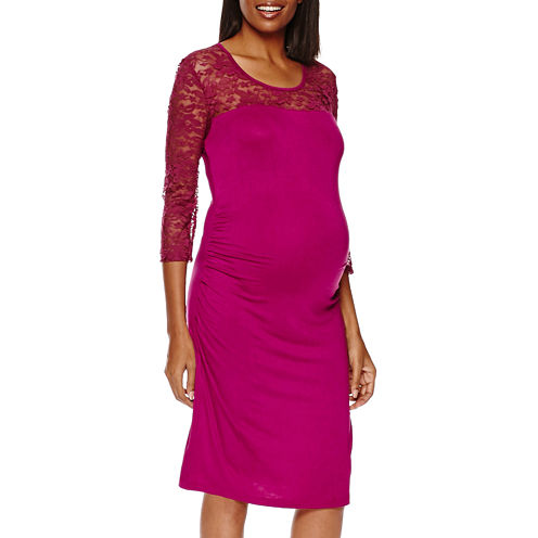 Maternity 3/4-Sleeve Lace-Yoke Knit Dress - Plus