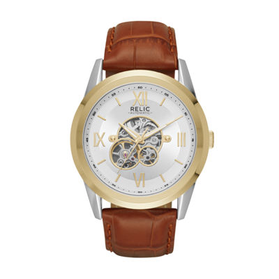 Relic By Fossil Mens Brown Strap Watch-Zr77280