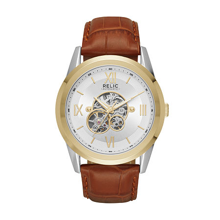 Relic By Fossil Mens Automatic Brown Strap Watch-Zr77280, One Size