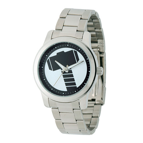 Marvel Mens Silver Tone Stainless Steel Bracelet Watch-W001781