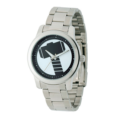 Marvel Mens Silver Tone Stainless Steel Bracelet Watch-W001781, One Size