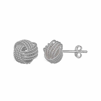 Sterling Silver Rope Love Knot Stud Earrings