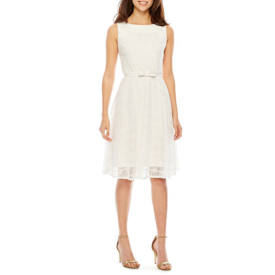 Danny & Nicole Sleeveless Lace Waves Fit & Flare Dress