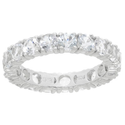 Womens Genuine White Topaz Sterling Silver Band