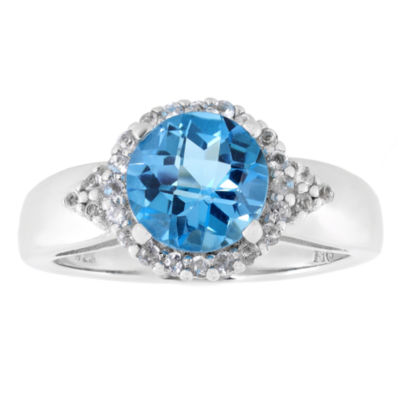 Womens Genuine Blue Blue Topaz Sterling Silver Halo Ring