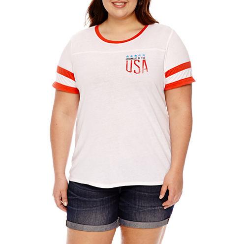 """Arizona """"Mermaid in the USA"""" Graphic T-Shirt- Juniors Plus"""
