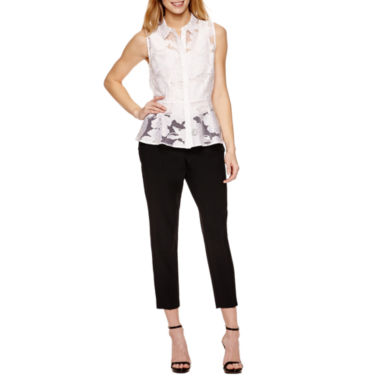 jcpenney.com | Worthington Sleeveless Organza Button Front Peplum and Curvy Fit Ankle Pants