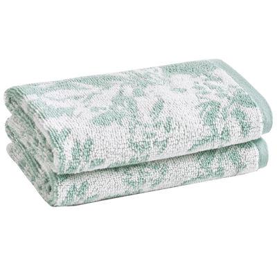Loft By Loftex Floral Block Jacquard 2-Pc. Washcloth Set