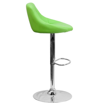 Contemporary Vinyl Bucket Seat Adjustable Height Barstool with Chrome Base