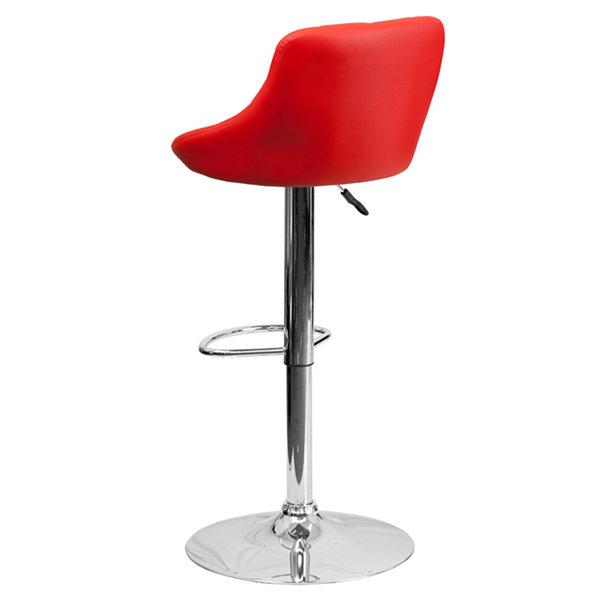 Upholstered Bucket Seat Contemporary Barstool