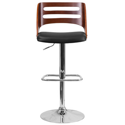 Bentwood Adjustable Height Barstool with Vinyl Seat and Cutout Back