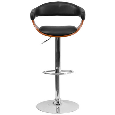 Bentwood Adjustable Height Barstool with Vinyl Upholstery