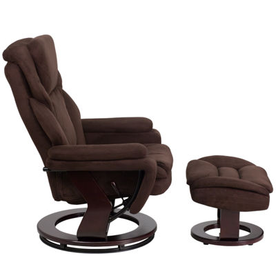 Contemporary Recliner and Ottoman with Swiveling Mahogany Wood Base