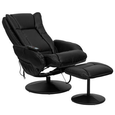 Massaging Leather Recliner and Ottoman with Leather Wrapped Base
