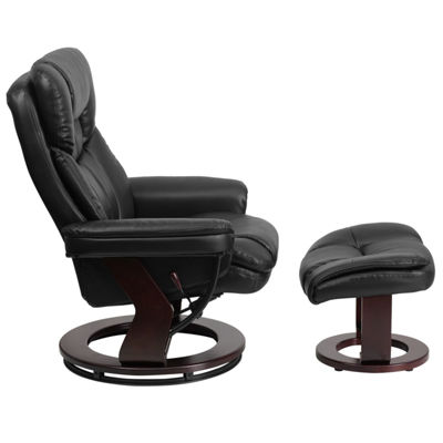 Contemporary Leather Recliner and Ottoman with Swiveling Wood Base