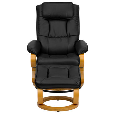 Contemporary Leather Recliner and Ottoman with Swiveling Maple Wood Base
