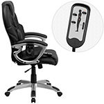 High Back Massaging Leather Executive Swivel Chairwith Silver Base and Arms