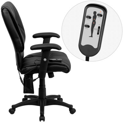 Mid-Back Massaging Leather Executive Swivel Chairwith Adjustable Arms