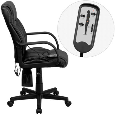 High Back Massaging Leather Executive Swivel Chairwith Arms