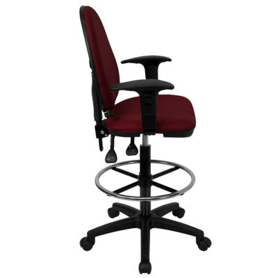 Mid-Back Multi-Functional Drafting Chair with Adjustable Lumbar Support and Height Adjustable Arms