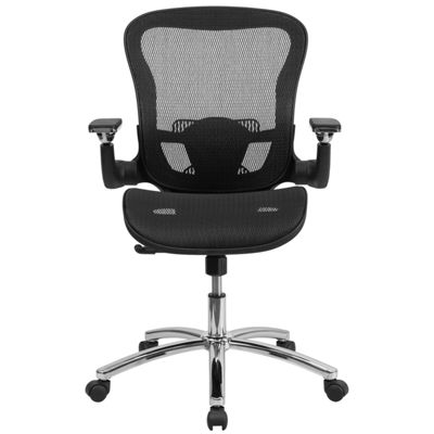 Mid-Back Transparent Mesh Executive Swivel Chair with Synchro-Tilt and Height Adjustable Flip-Up Arms