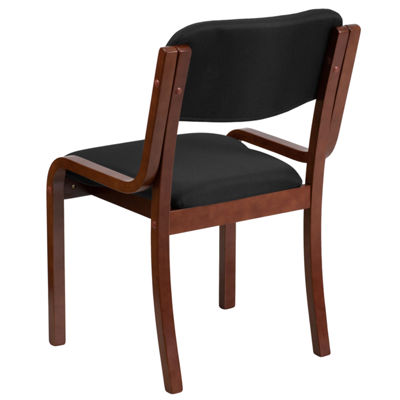 Contemporary Wood Side Reception Chair with BlackFabric Seat