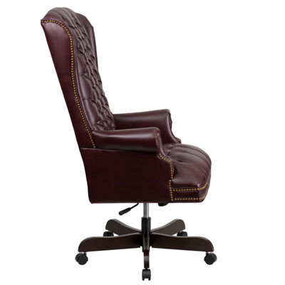 High Back Traditional Tufted Leather Executive Swivel Chair with Arms