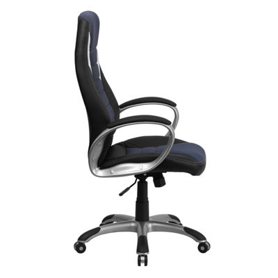 High Back Vinyl Executive Swivel Chair with Blue Mesh Inserts and Arms