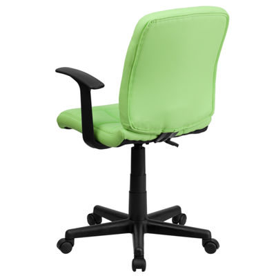 Mid-Back Quilted Vinyl Swivel Task Chair with Arms