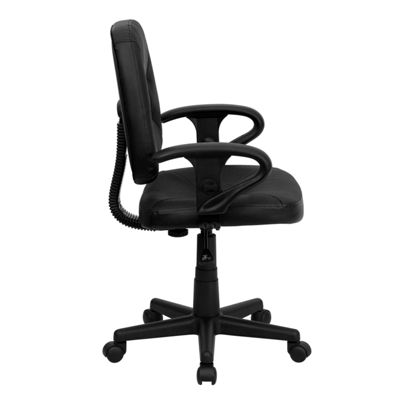 Mid-Back Leather Ergonomic Swivel Task Chair withAdjustable Arms