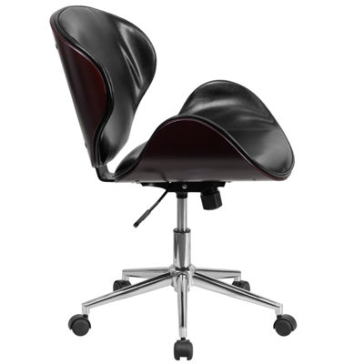 Mid-Back Wood Swivel Conference Chair with LeatherSeat