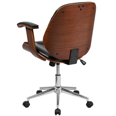 Mid-Back Leather Executive Wood Swivel Chair withArms