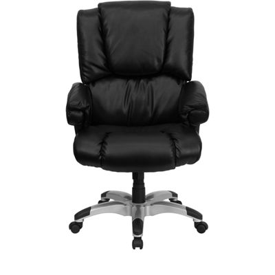 High Back Leather OverStuffed Executive Swivel Chair with Fully Upholstered Arms