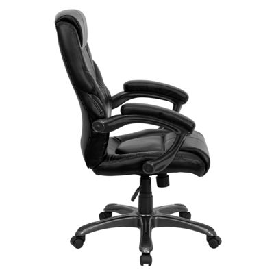 High Back Leather Overstuffed Executive Swivel Chair with Arms