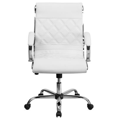 Mid-Back Designer Leather Executive Swivel Chair with Chrome Base and Arms
