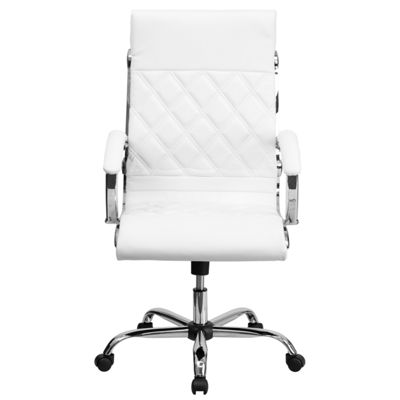 High Back Designer Leather Executive Swivel Chairwith Chrome Base and Arms