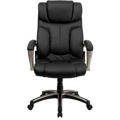 High Back Folding Leather Executive Swivel Chair with Arms