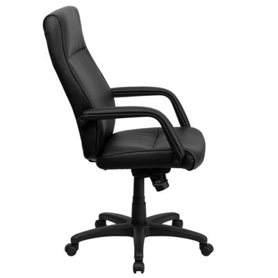 High Back Leather Executive Swivel Chair with Memory Foam Padding with Arms
