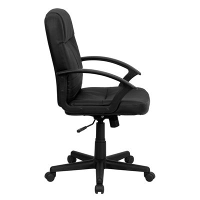 Mid-Back Leather Executive Swivel Chair with Arms