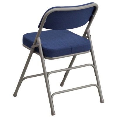 HERCULES Series Premium Curved Triple Braced & Hinged Fabric Upholstered Metal Folding Chair