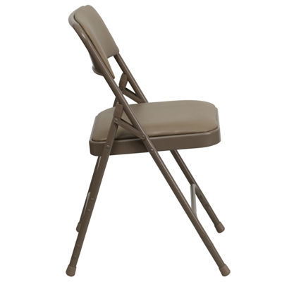 HERCULES Series Curved Triple Braced & Double Hinged Upholstered Metal Folding Chair