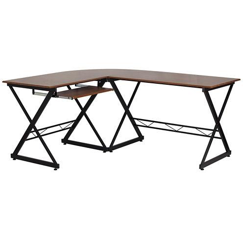 Teakwood Laminate L-Shape Desk