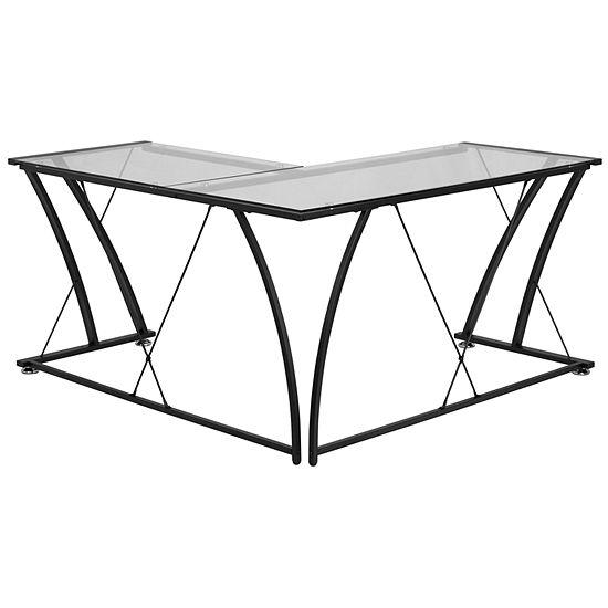Glass L-Shape Computer Desk
